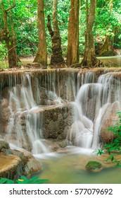 Landscape Huai Mae Kamin waterfall Srinakarin at Kanchanaburi, Thailand.