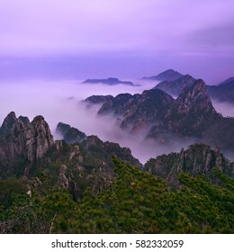 Landscape of Huangshan ( Yellow Mountain ) in China in beautiful light