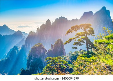 Landscape of Huangshan (Yellow Mountain). UNESCO World Heritage Site. Located in Huangshan, Anhui, China.
