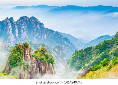 Landscape of Huangshan (Yellow Mountains). Located near White Goose Peak (White Goose Ridge Station), Huangshan, Anhui, China.