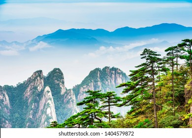 Landscape of Huangshan (Yellow Mountains). UNESCO World Heritage Site. Located in Huangshan, Anhui, China.