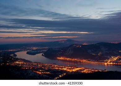 Landscape in Hungary with the river Danube in the evening