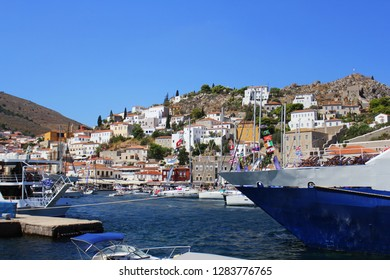 Landscape of Hydra island Saronic Gulf Greece .