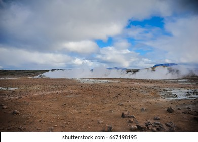 Landscape of iceland. geothermal activity