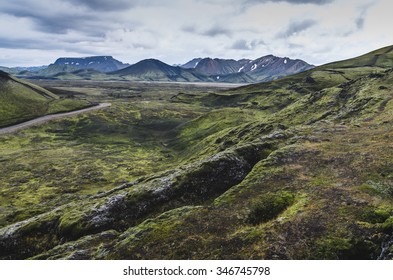 Landscape in Iceland,mountains and moss all over the place