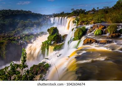 Landscape of the Iguazu Waterfalls, Wonder of the world, at Puerto Iguazu, Argentina