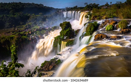 Landscape of the Iguazu Waterfalls, Wonder of the world, at Puerto Iguazu, Argentina