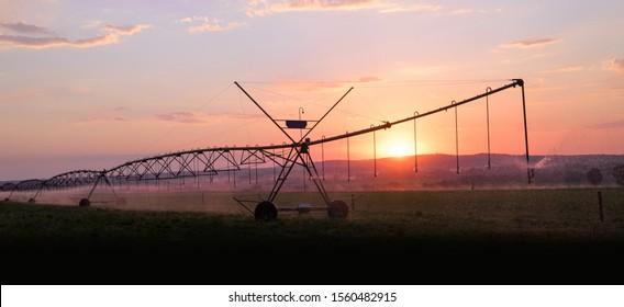 Landscape image of an agricultural irrigation system at sunset