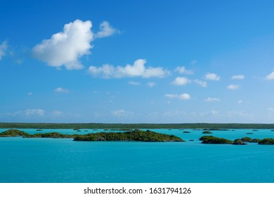 Landscape image of beautiful Chalk Sound in Turks and Caicos