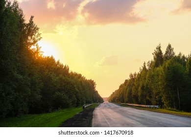 Landscape with the Image of a Country Road at sunset