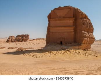 Landscape image in Madain Saleh (Madinah), archaeological site with Nabatean tombs in Saudi Arabia (KSA)