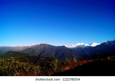 Landscape image of the mountain range of Kanchenjunga as seen from Pelling view point  in the Indian state of Sikkim