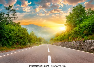 Landscape with the image of mountain road in montenegro - Shutterstock ID 1930996736