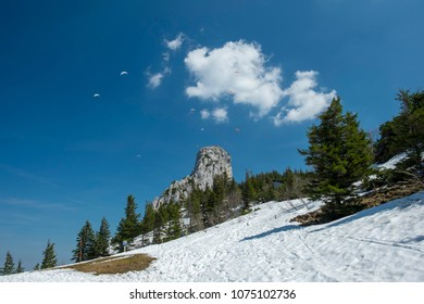 Landscape image on Kampenwand in Bavaria, Germany in spring
