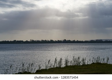 A landscape image of rays of sunlight breaking through the clouds, and shining on the Clarence River...trees on the far side, and grass/cane growing in the foreground. Taken from Goodwood Island, NSW.