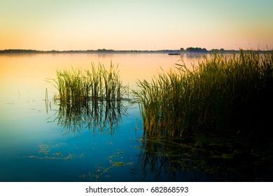 A landscape image shot at sunset on Lake Ontario, Canada