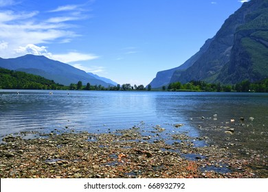 Landscape with the image of Toblino lake in North Italy