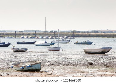 landscape imge of boats on the sea taken from west mersea in essex england