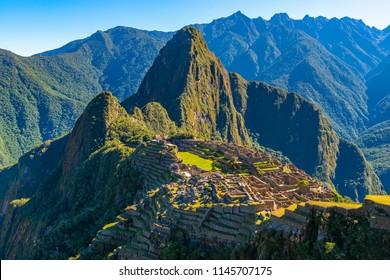 Landscape of the Inca Ruin and Lost City of Machu Picchu in the Peruvian cloud forest near Cusco, Peru, South America.