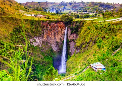 landscape of Indonesia in North Sumatera:  the highest waterfall in Indonesia, sipisopiso, almost one hundreds meter high.