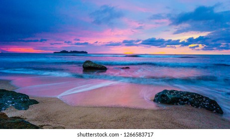 landscape of Indonesia : the sunset view in Air Manis beach, Padang, Sumatera Barat ( West Sumatera ).