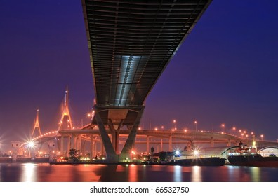 Landscape of Industrial Ring Bridge or Mega Bridge at dusk in Thailand. The Bridge cross over Bangkok Harbor