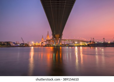 Landscape of Industrial Ring Bridge with sunset .The bridge crosses the Chao Phraya River. Bangkok, Thailand