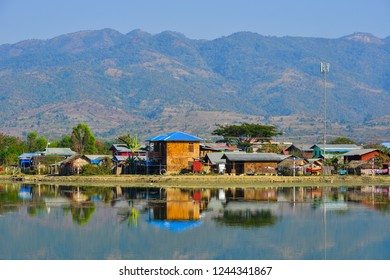 Landscape of Inle Lake, Myanmar. Inle Lake is a shallow lake in the middle of Myanmar south-east of Mandalay.
