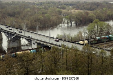 Landscape of intersection of highway and railway and river, crossroad in Vladimir city, Russia