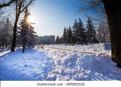 landscape of Irkutsk city of Russia during winter season,church and tree are cover by snow.It is very beautiful scene shot for photographer to take picture.Winter is high season to travellingRussia.