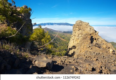 Landscape in the Island of La Palma with a crater Caldera de Taburiente on backgroud, Canary Islands, Spain