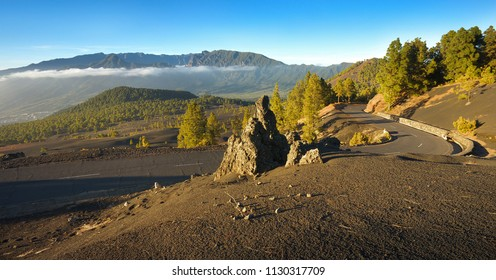 Landscape in the Island of La Palma with crater Caldera of Taburiente on background, Canary Islands, Spain