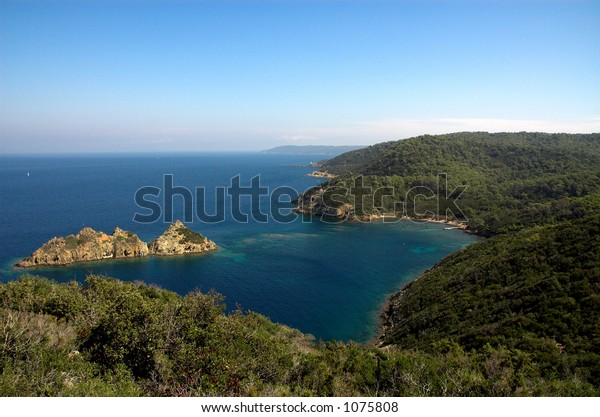 Landscape with the island on the Cote d'Azure