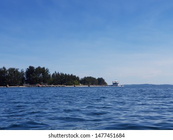 Landscape of an island viewed from a boat