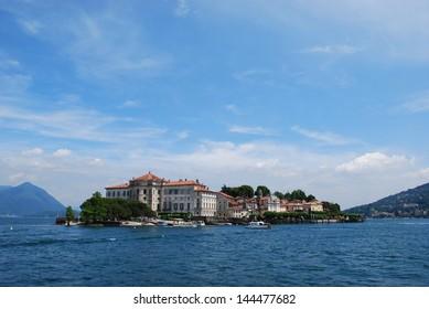 Landscape with Isola Bella, Island on Maggiore lake, Stresa, Italy
