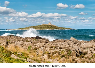 Landscape of Isola delle Femmine or the Island of Women located on the shore of Mediterranean sea in province of Palermo, Sicily
