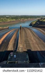 Landscape of Itaipu Binacional Hydroelectric Plant, Foz do Iguacu, Parana State, South Brazil