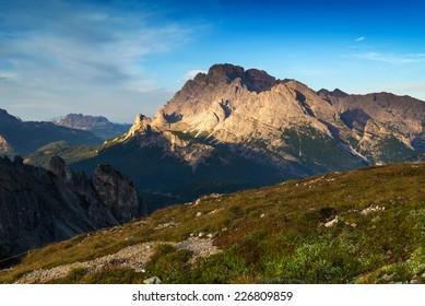 Landscape Italy, Dolomites - sunrise in the mountains