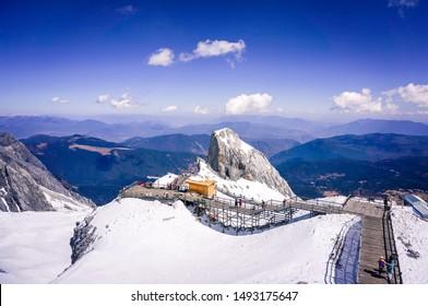 Landscape of Jade dragon snow mountain(Yulongxueshan),located in Lijiang,Yunnan,China
