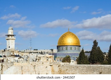 Landscape of Jerusalem, Israel with the golden dome mosque