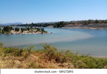 Landscape of the junction of Mekong river and Moon river at Thai-Laos border in Ubonratchathani, Thailand. Beautiful scenery of two colors water from two rivers with clear blue sky.