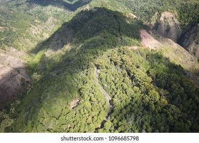 Landscape of Jungle green in Kauai from Helicopter