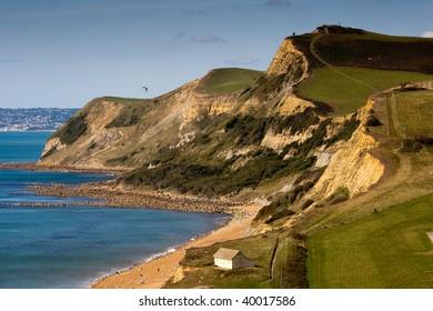 A landscape of the Jurassic coastline looking towards Lyme Regis