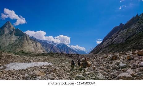 Landscape of K2 trekking trail in Karakoram range, Trekking along in the Karakorum Mountains in Northern Pakistan
