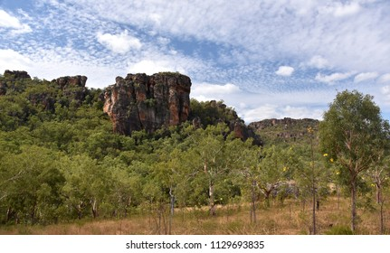 Landscape of the Kakadu National Park at Nourlangie. Kakadu's popular Burrungkuy (Nourlangie) region is known for its World Heritage rock art, colourful birdlife and  walks and lookouts.