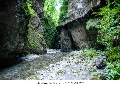 landscape of the kakoueta gorges, gorge with river and waterfall located in the french basque country