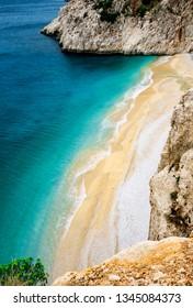 Landscape of Kaputas Beach in Kas, Kalkan, Antalya, Turkey. Lycian way. Summer and holiday concept