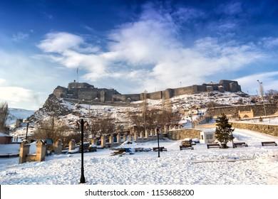 LAndscape of Kars Castle in Turkey.