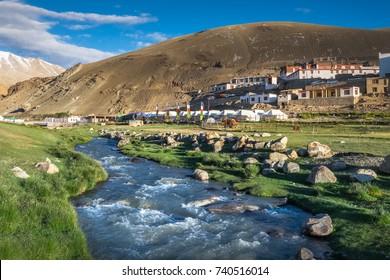 Landscape of Karzok village around Tso Moriri Lake in Ladakh, India