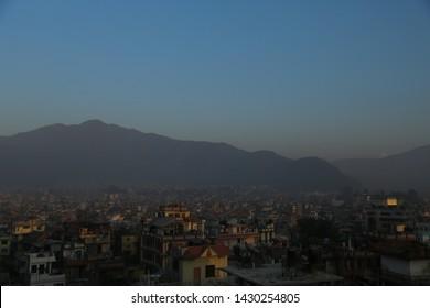 landscape of Katmandu city in Nepal with mountain background